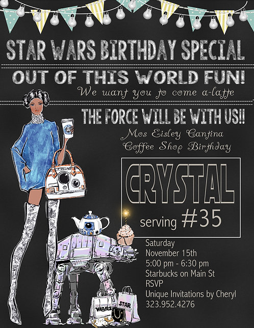 African American Star Wars Coffee Birthday Party Invitation (sold in sets of 10)