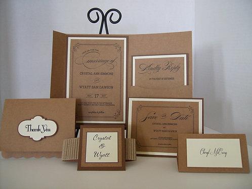 Kraft and Ivory Pocketfold Wedding Invitation