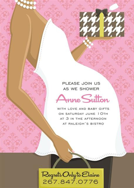 Pink Belly (Ebony) Baby Shower Invitations