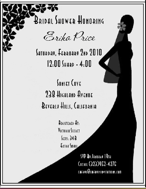 Sophisticated Silhouette Invite Black Bridal Shower and  Event Invitation