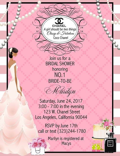 African American Chanel Bridal Shower Party and  Event Invitation