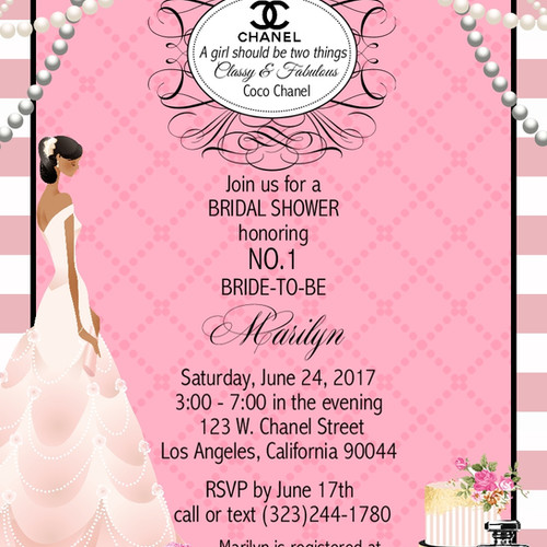 Bridal shower parties california unique invitations by cheryl african american chanel bridal shower party and event invitation filmwisefo