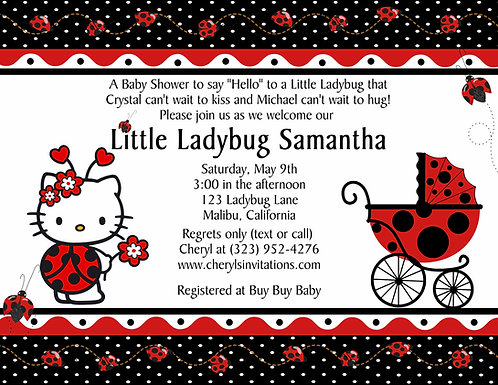 Designer Ladybug Hello Kitty Baby Shower Invitations (sold in sets of 10)