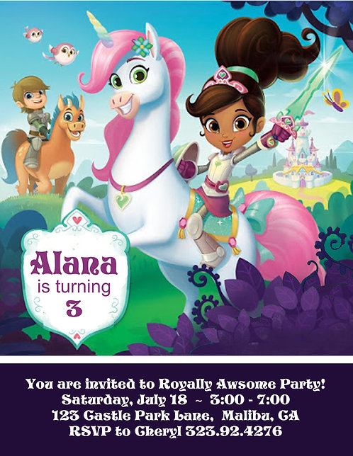 Ella the Princess Knight Party and  Event Invitation (sold in sets of 10)
