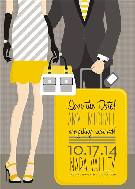 Couple Save the Date  and  Event Invitation