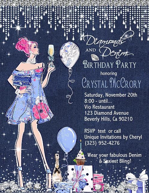 Denim & Diamond Birthday Champagne Invitation (sold insets of 10)