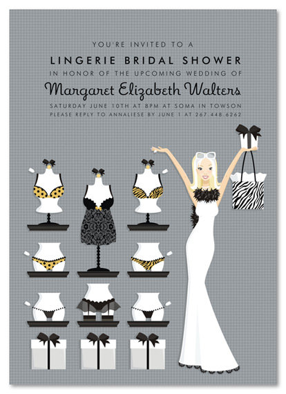 Blonde Lucky in Love Lingerie Bridal Shower and  Event Invitation