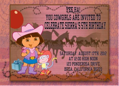 Cowgirl Dora Birthday Party Invitation