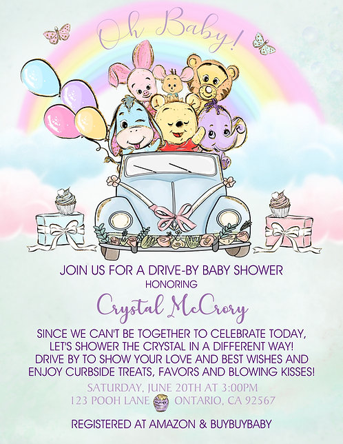 Pooh Babies Drive-By Baby Shower Invitations (sold in sets of 10)