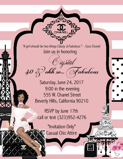 Paris Chanel Fabulous Birthday Party And Event Invitation