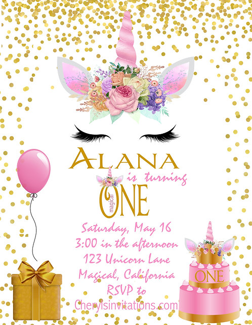 Spring Magical Unicorn Birthday Invitation (sold in sets of 10)