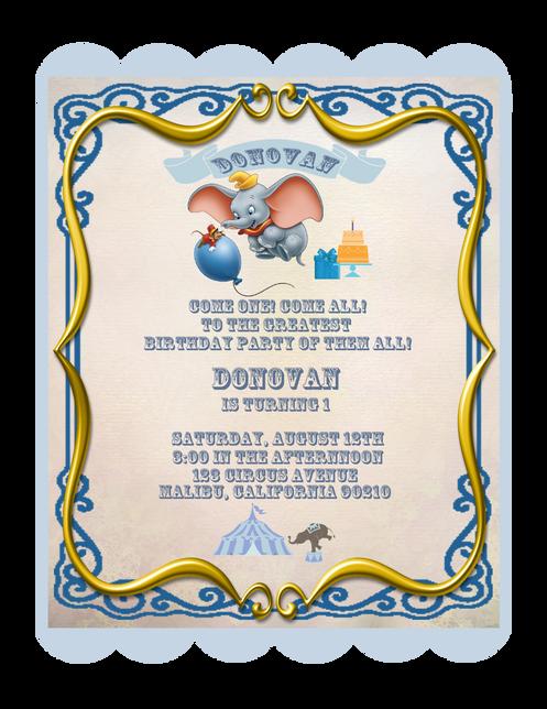 DumboBirthday Party Keepsake Bottle Invitation & Cards