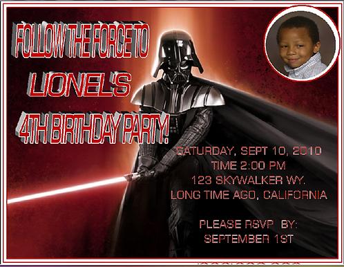 Darth Vader Birthday  Party Invitation
