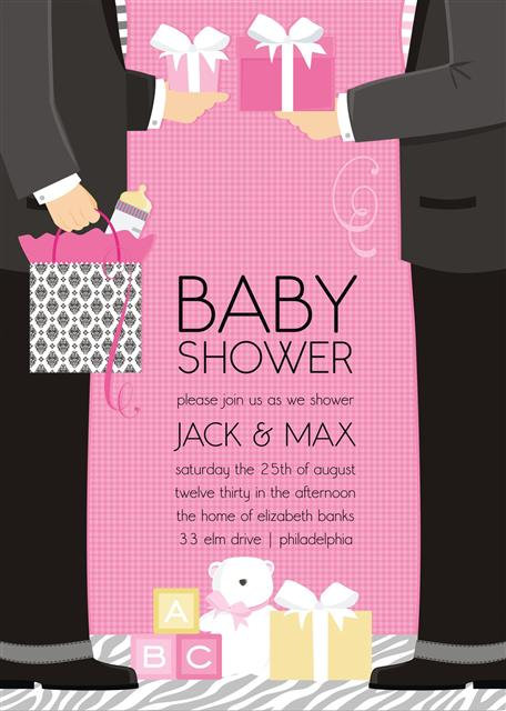 Pink Jack and Max Couple Baby Shower Invitations