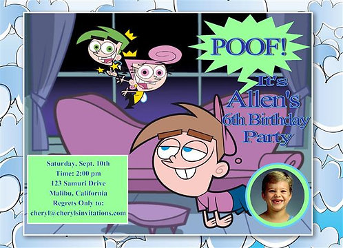 Fairy Odd Parents Birthday Party Keepsake Bottle Invitation
