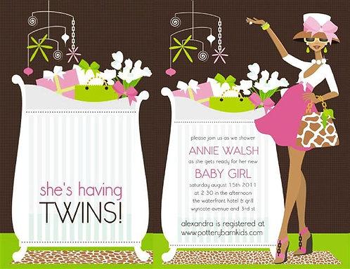 Pink Chic Crib Twins Mom (Ebony) Keepsake Baby Bottles Invitations