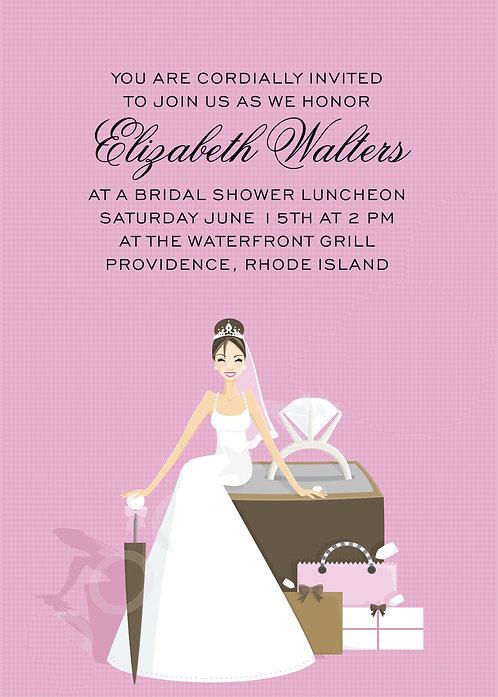 Diamond Girl Pink Bridal Shower and  Event Invitation