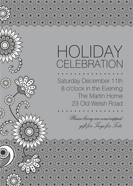 Floral Lace Holiday Party and  Event Invitation