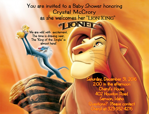 #3 Lion King Baby Shower Invitations