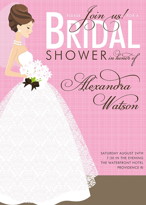 Beautiful Pink Bridal Shower and  Event Invitation
