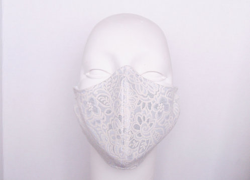 Silver and White Brocade Contoured Face Mask  with Filter Pocket