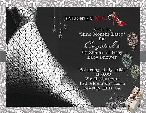 50 Shades Baby Shower Invitations