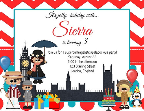 Mary Poppins Birthday Party Invitation