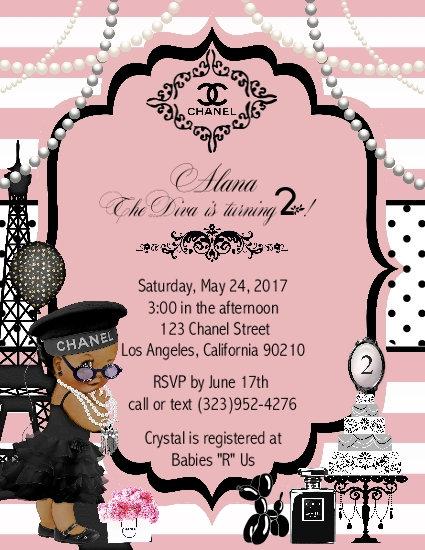 Paris Chanel African American Birthday Party Invitation