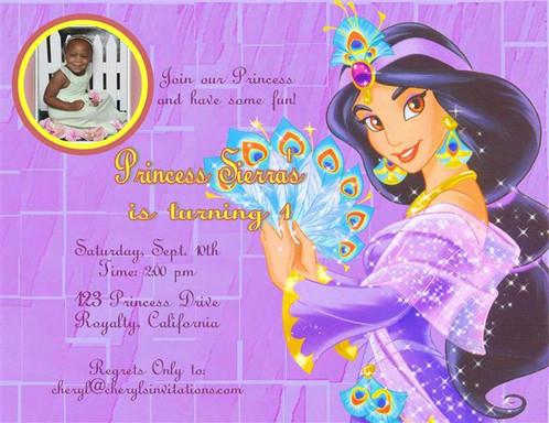 Princess Jasmine Birthday Party Keepsake Bottle Invitation Cards