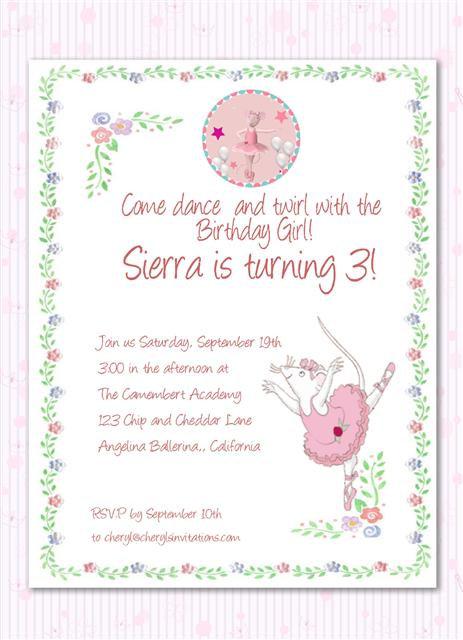 #3 Angelina Ballerina Birthday Party Invitation
