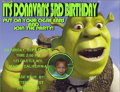 Shrek Birthday Party Invitation