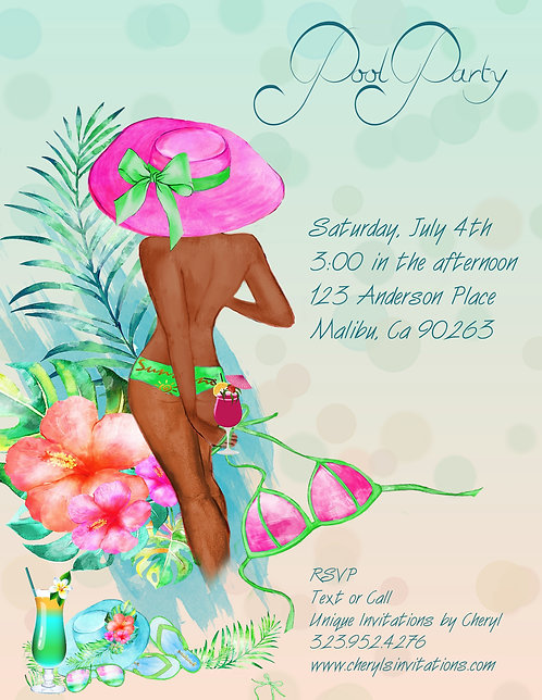 African American Pool Party Invitation (sold in sets of 10)