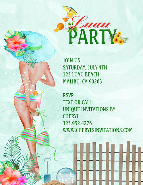 Luau Beach Party Invitation (sold in sets of 10)