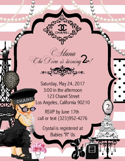 Paris Chanel Brunette Birthday Party Keepsake Bottle Invitation