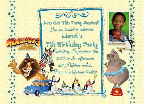 Madagascar Birthday Party Invitation