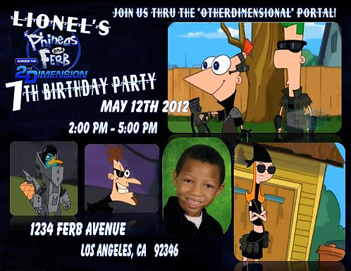 Phineas and Ferb Birthday Party Invitation