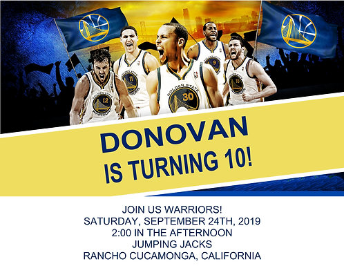 Warriors Birthday Party and  Event Invitation (sold in sets of 10)