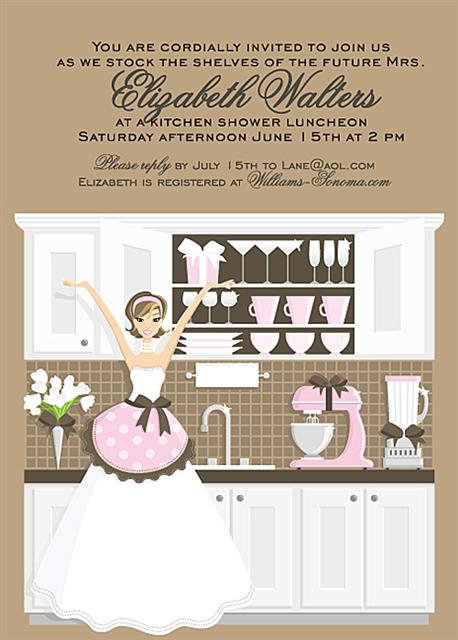 Kitchen Brunette Bridal Shower Bridal Shower and  Event Invitation