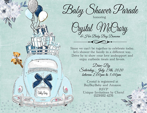 African American Boy Baby Shower Parade Invitations (sold in sets of 10)