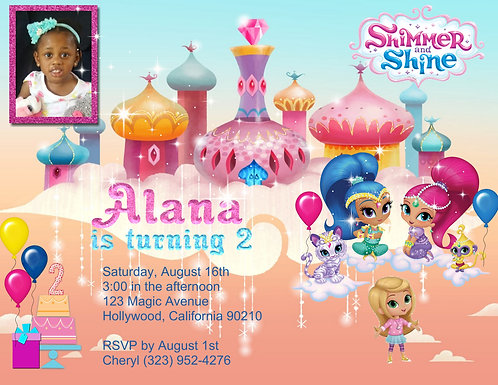 Shimmer and Shine Party and  Event Invitation (sold in sets of 10)