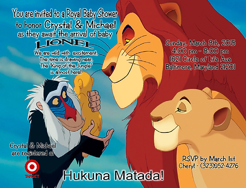 #13 Lion King  Baby Shower Invitations