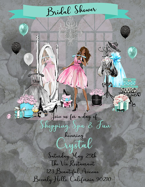 African American Tiffany Shopping Bridal Shower Invite (sold in sets of 10)