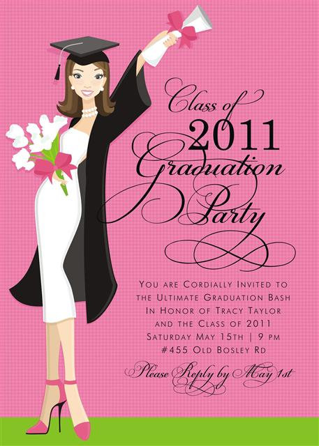 Brunette Glamour Girl Grad Party and  Event Invitation