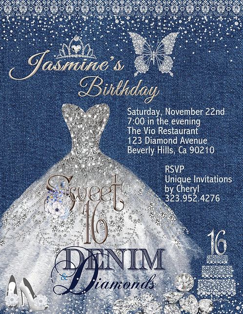 Denim & Diamond Sweet 16 Invitation (sold in sets of 10)