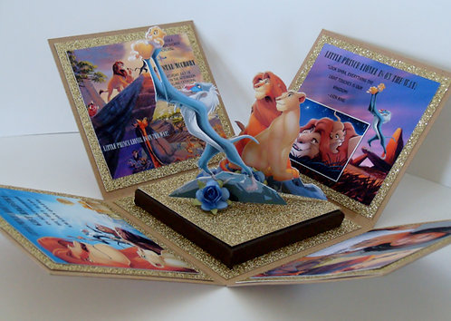 """Lion King """"Circle of Life"""" w/Cut-Out  Custom Exploding Box Invitation"""
