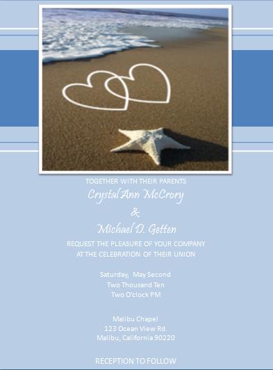 Love On The Beach Wedding / Event Invitation