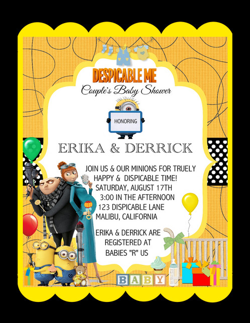 Despicable me baby shower invitation despicable me baby shower keepsake bottles card invitations filmwisefo