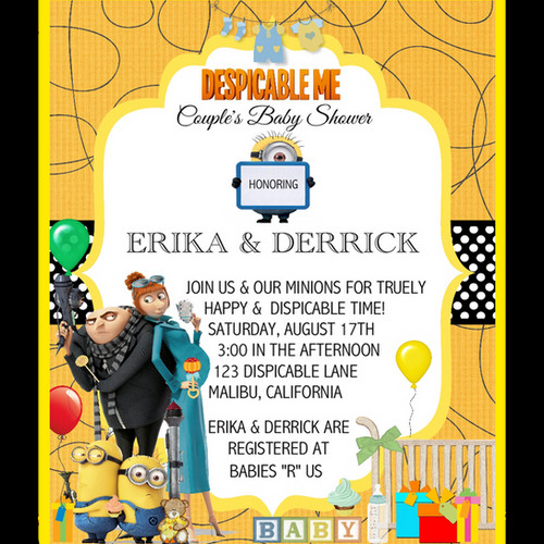 Despicable ME Baby Shower Invitation