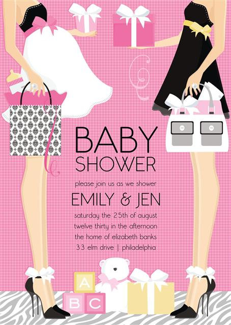 Pink Emily and Jen Couple Baby Shower Invitations