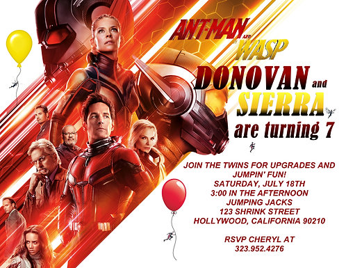 Ant Man and The Wasp Birthday Party and  Event Invitation (sold in sets of 10)